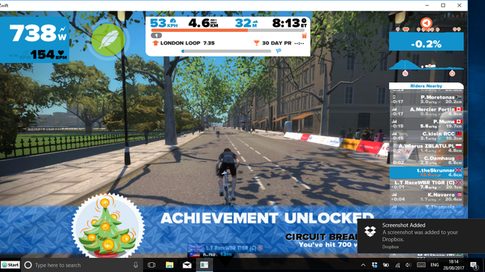 ZWIFT on the wahoo kickr kickr17 smart trainer review