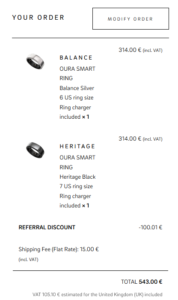 Oura Ring Discount Example