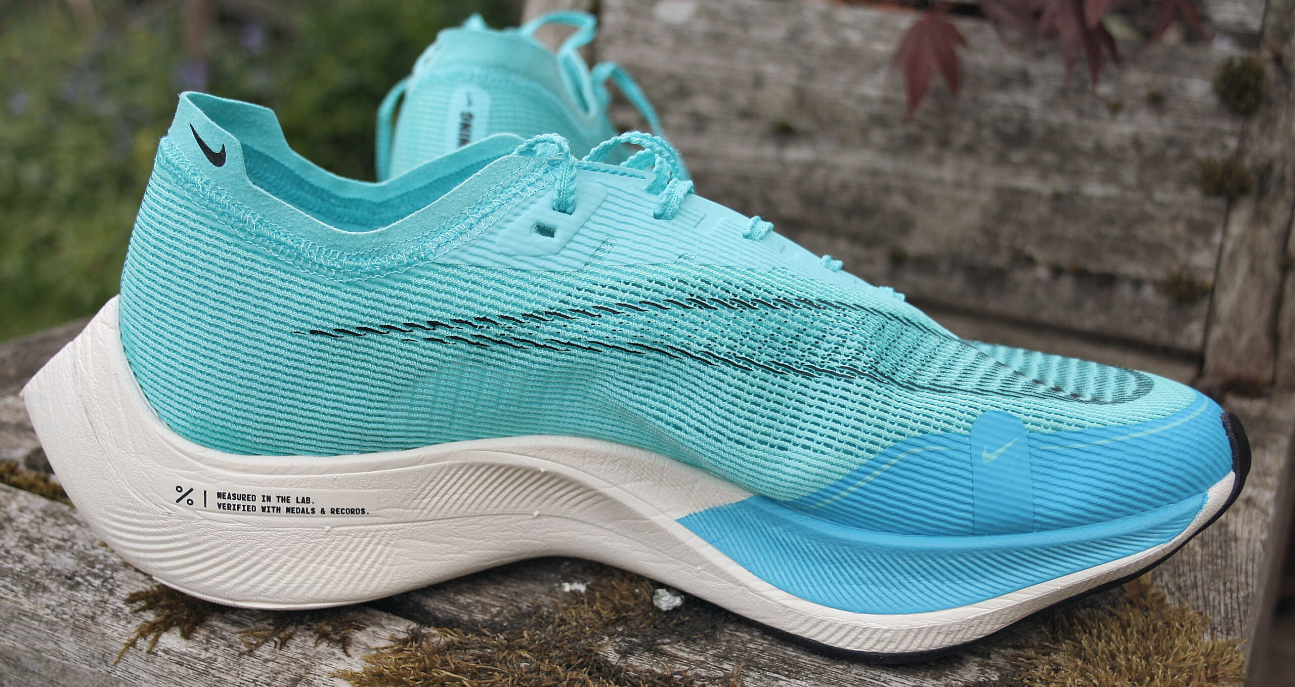 Side view of Nike ZoomX Vaporfly these are Next% 2 and covered in the Review