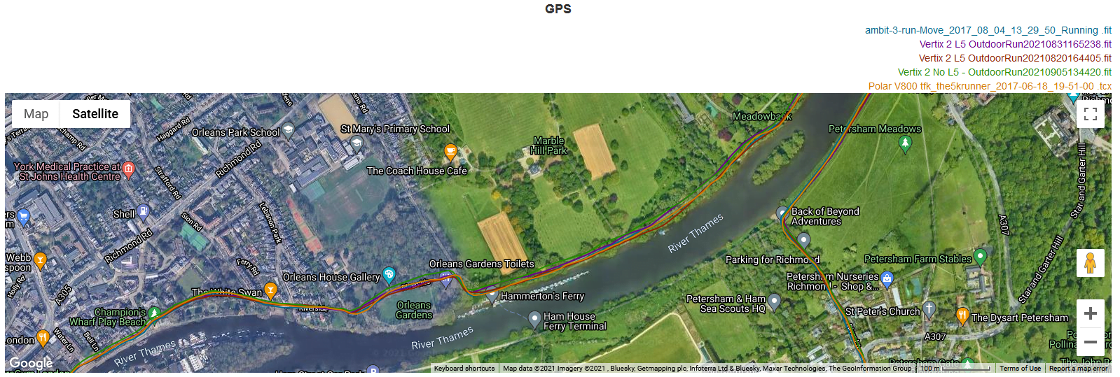 Click to compare GNSS track on analyze.dcrainmaker.com